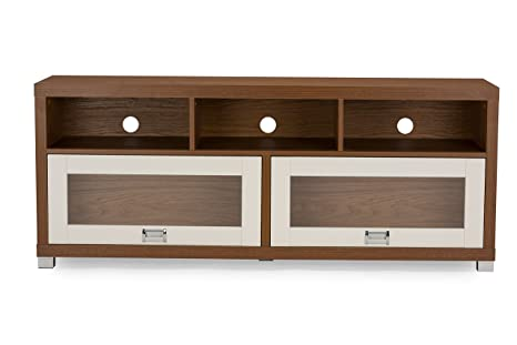 Baxton Studio Swindon Modern Two-Tone TV Stand with Glass Doors, Walnut/White