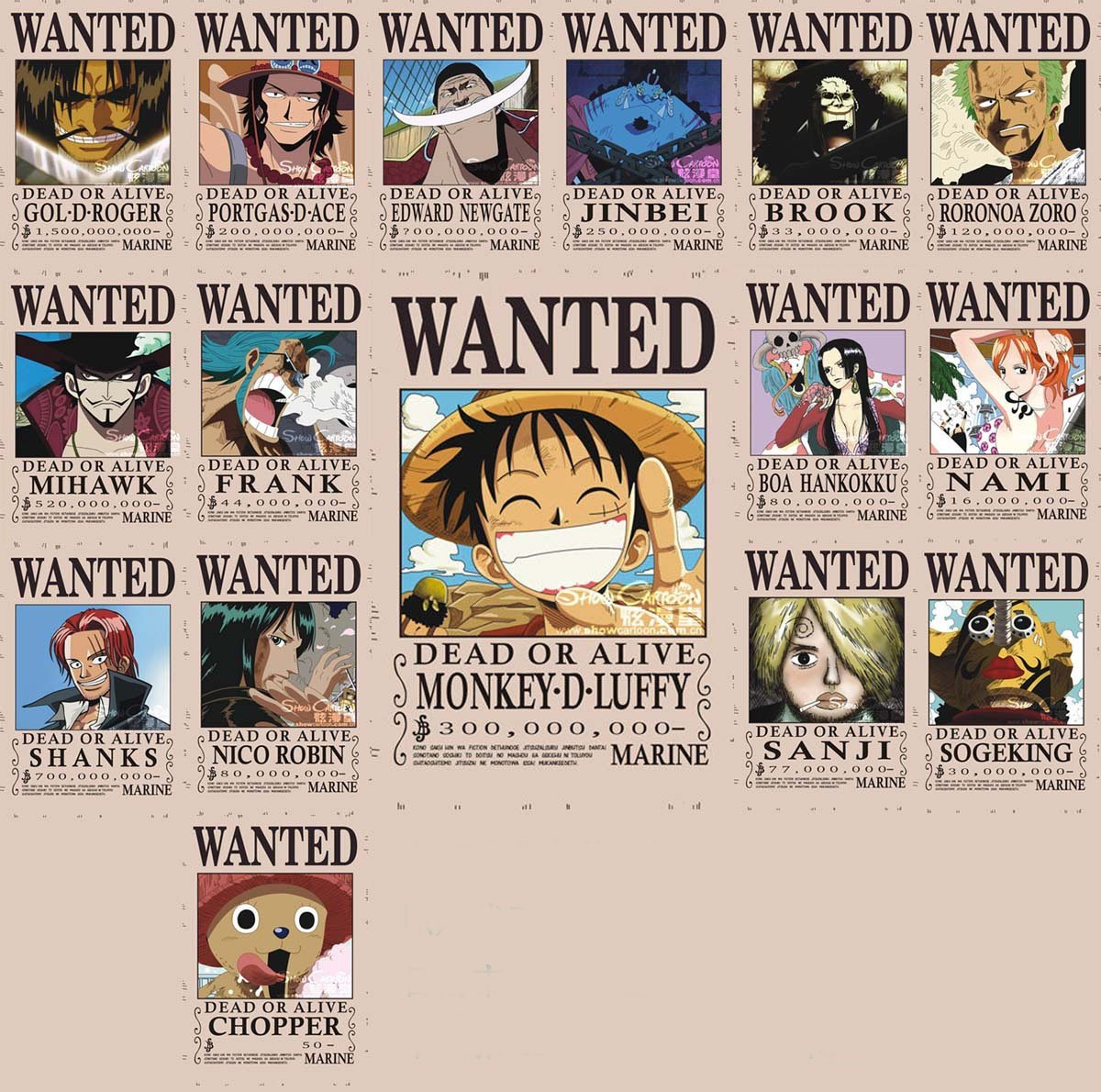 one-piece-wanted-posters-16-pcs