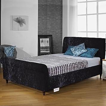 Hf4you Sophie Crushed Velvet Fabric Sleigh Bed Frame - 6FT Super King - Black