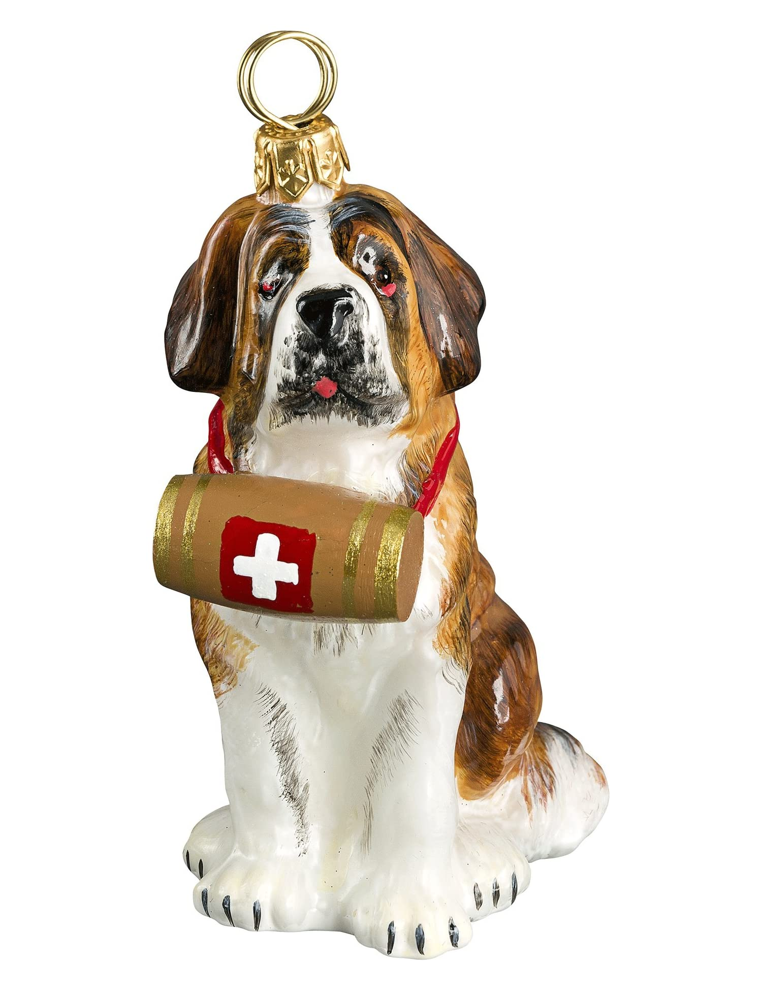 The Pet Set Blown Glass European Dog Ornament By Joy To The World Collectibles - Saint Bernard With Barrel