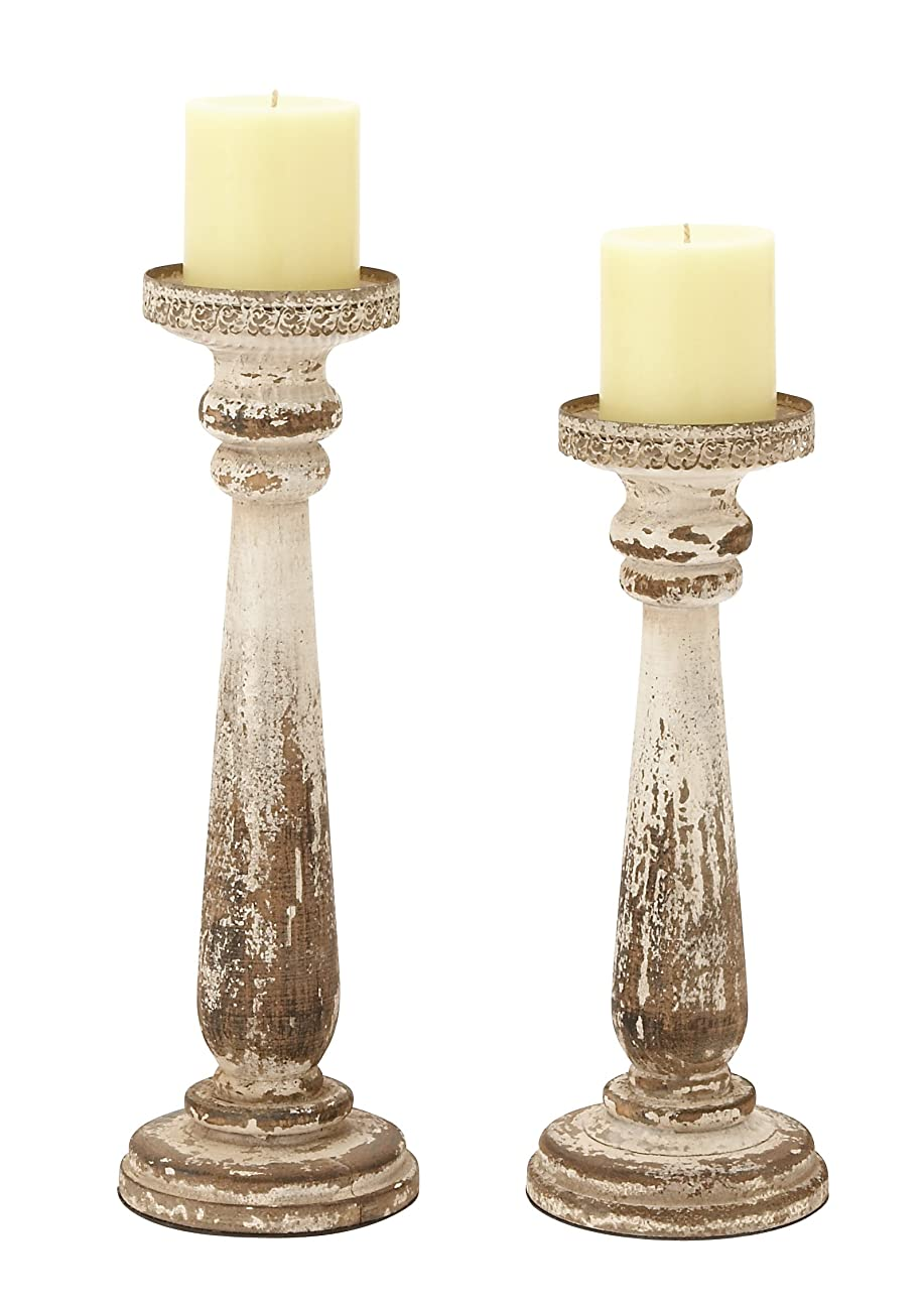 Deco 79 44410 Wood Candle Holder, Set of 2 0