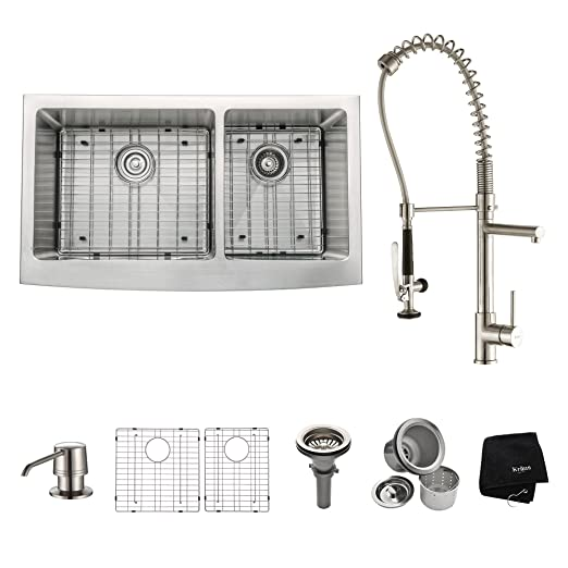 "Kraus KHF203-36-KPF1602-KSD30SS 36"" Farmhouse Double Bowl Stainless Steel Kitchen Sink with Stainless Steel Finish Kitchen Faucet and Soap Dispenser"