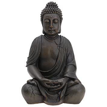 buddha figur statue sitzend indonesien antik stil 51cm dc56. Black Bedroom Furniture Sets. Home Design Ideas