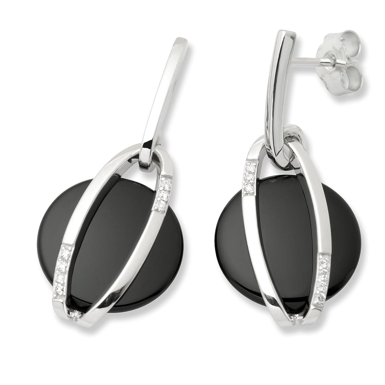 Miore Damen-Ohrhänger 14 Karat (585) Weißgold mit Onyx und Brillanten MB135E günstig online kaufen