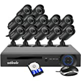 Zclever 16 Channel Security Camera System, 16 Channel Hybrid DVR Recorder with Hard Drive 2TB and 12 x 720p Surveillance Bullet Camera Outdoor Indoor with Day Night Vision (Color: 720P-16CH-12CAMS-2TB, Tamaño: AHD Security Camera System)