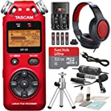 Tascam DR-05 (Version 2) Portable Handheld Digital Audio Recorder (Red) with Platnium accessory bundle