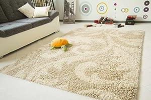 Shaggy Hochflor Teppich Funny Design Ranke beige  Sofort lieferbar  GUT Siegel, Größe 200x290 cm   Rezension