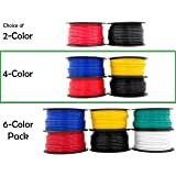 GS Power 12 Gauge Copper Clad Aluminum Low Voltage Primary Wire in 4 Color Combo   100 ft per Roll (400 Feet Total) for Car Audio Video Amplifier Remote Automotive Trailer Hookup Signal Light Wiring (Color: Red, Black, Blue, Yellow, Tamaño: 400 ft)
