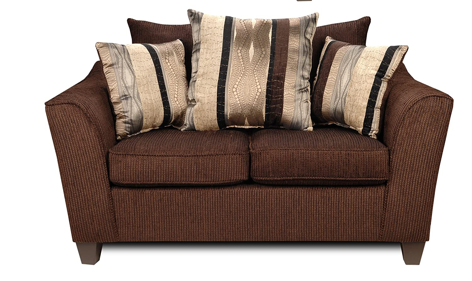 Chelsea Home Furniture Lizzy Loveseat - Upholstered in Romance Brown/Kendu Onyx