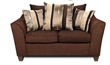 Chelsea Home Furniture Lizzy Loveseat, Upholstered in Romance Brown/Kendu Onyx