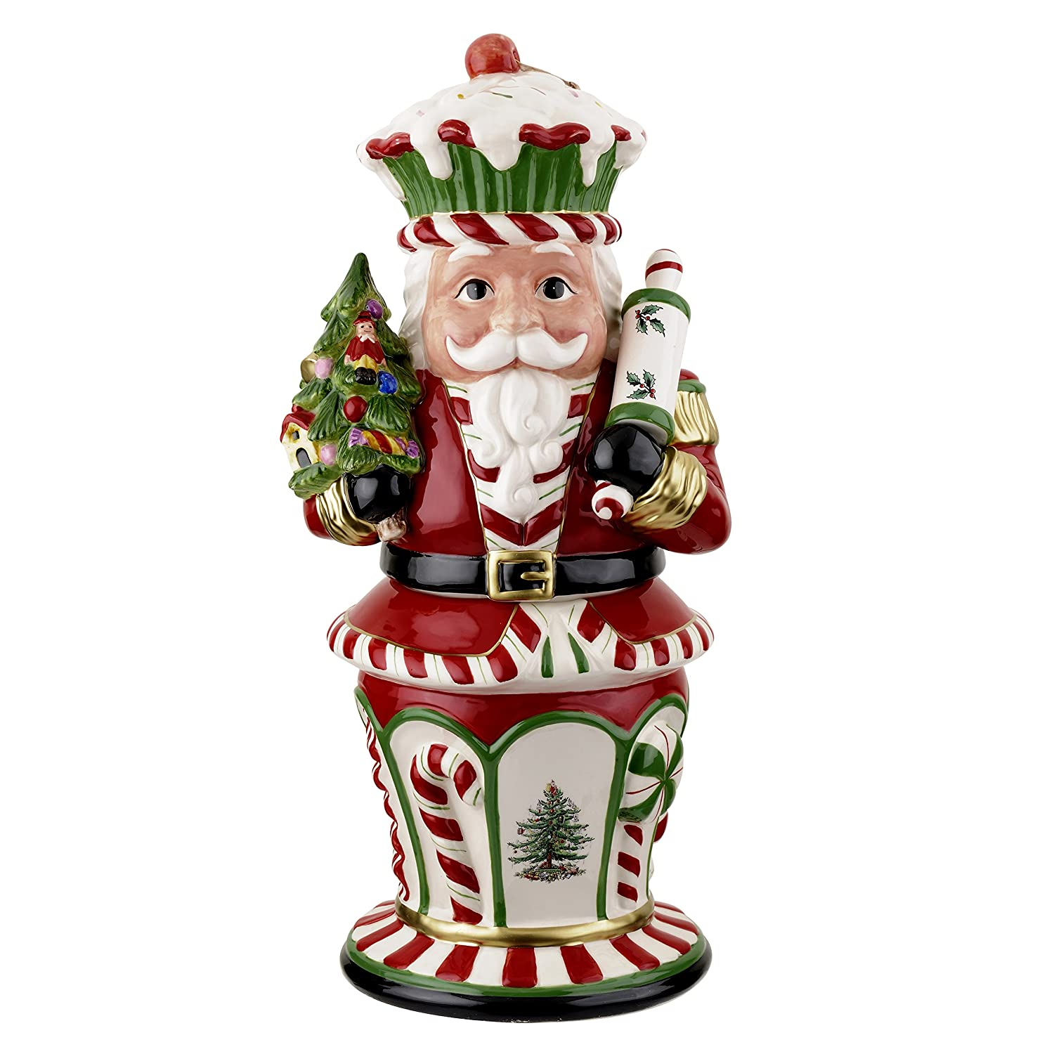 Spode Christmas Tree Peppermint Figural Nutcracker Cookie Jar