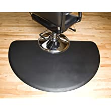 Tough Guy Polyurethane Anti-Fatigue Stylist Mat, Half Round with Round Chair Base Cut Out, Black