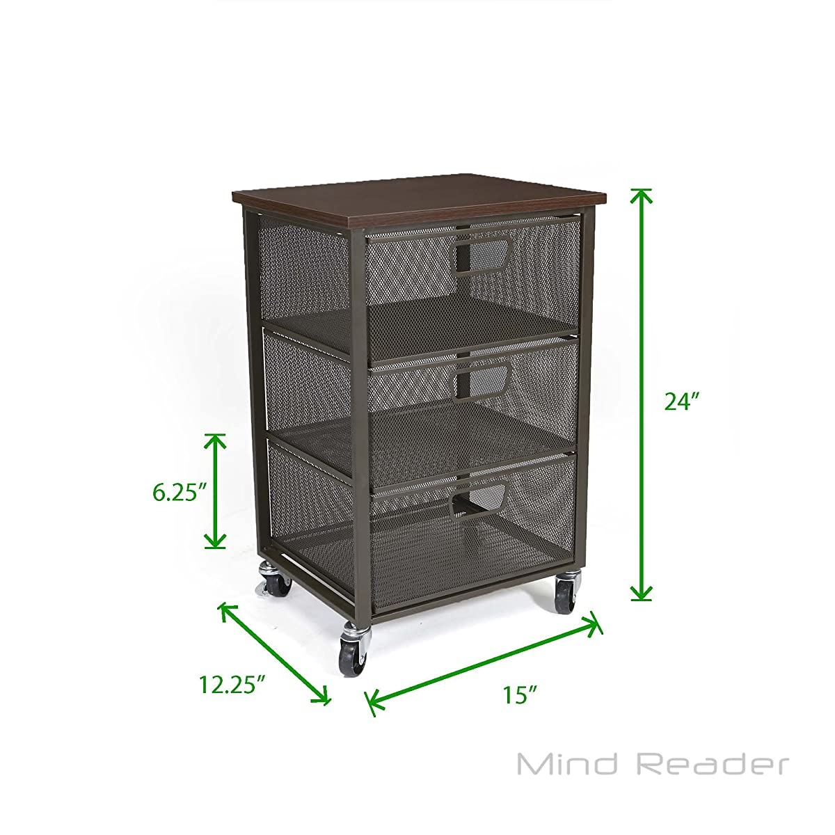 Mind Reader Rolling Storage Cart with 3 Drawers, File Storage Cart, Utility Cart, Office Cart Drawer Storage, Bathroom Storage