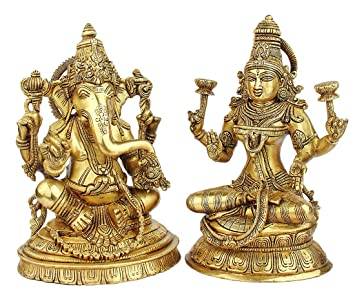 "Statuestudio Ganesh Laxmi Idols Set Of 2 Seated Pose Antique 10"" Gold"
