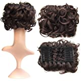 SWACC Short Messy Curly Dish Hair Bun Extension Easy Stretch hair Combs Clip in Ponytail Extension Scrunchie Chignon Tray Ponytail Hairpieces (Dark Brown-4#) (Color: Dark Brown-4#)