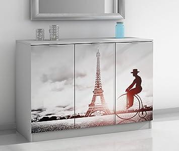 Aparador blanco de 3 puertas con serigrafía Paris. 120x85cm