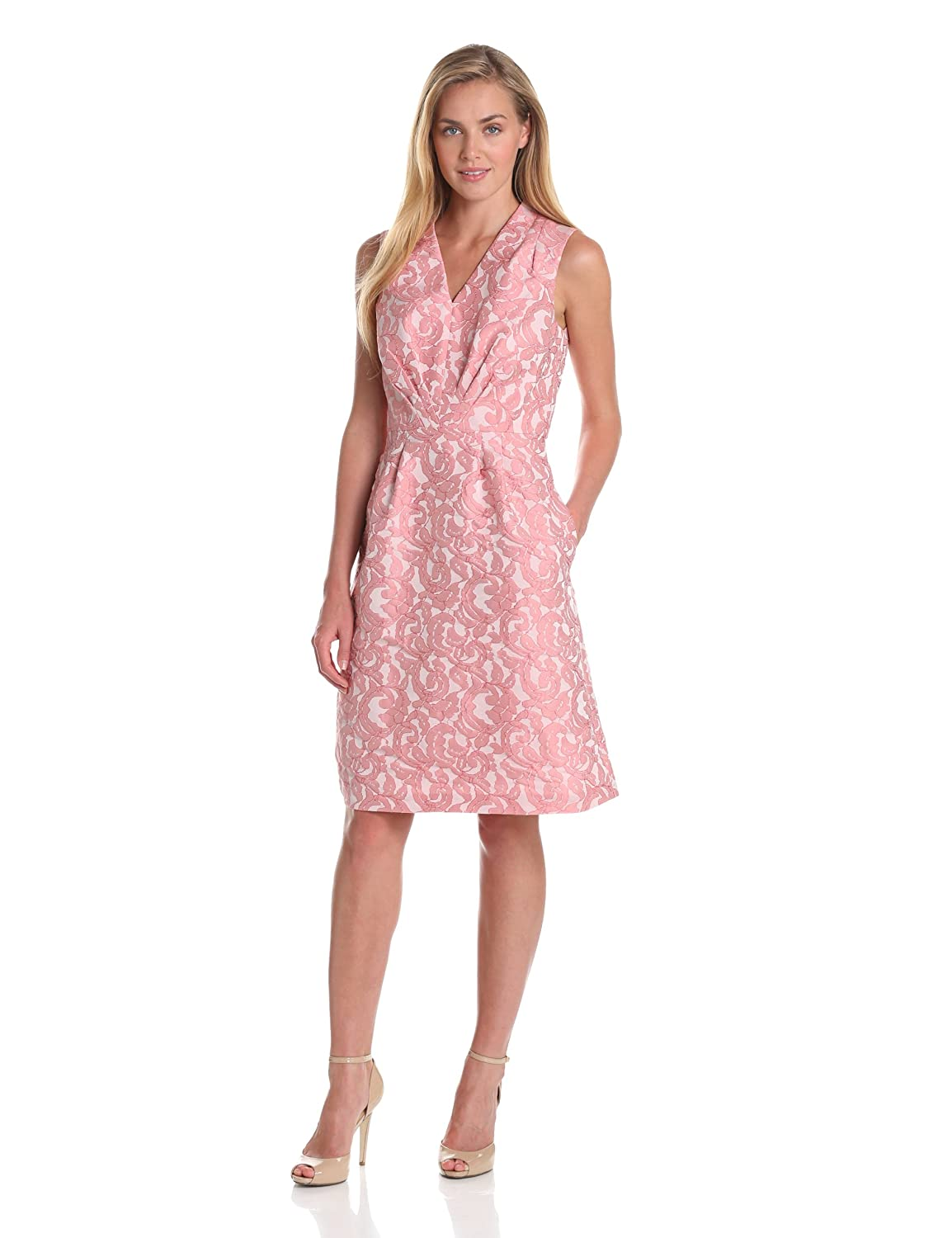 Adrianna Papell Women's Jacquard Fit and Flare Dress