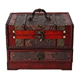 Retro Antique Flower Carved Wooden Jewelry Storage Box Container Case