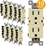 ENERLITES Duplex Receptacle Outlet, Tamper-Resistant, Residential Grade, 3-Wire, Self-Grounding, 2-Pole,15A 125V, UL Listed, 61580-TR-A-10PCS, Almond (10 Pack) (Color: Almond 10 Pack)