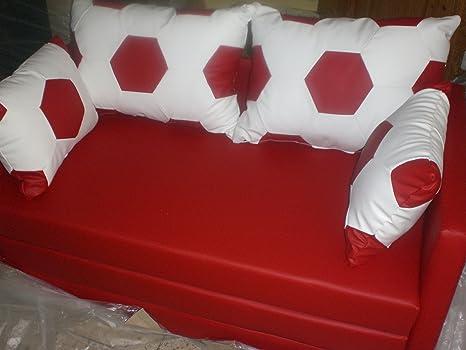 Schlafsofa 2 sitzer Couch Fussball Design weiss rot