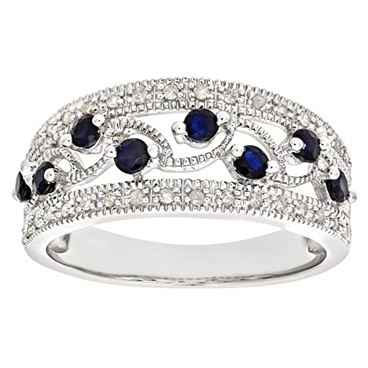 Naava 9ct White Gold Fancy Sapphire And Diamond Ring