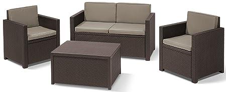 Allibert 220024 Monaco - Salón de jardín (mesa arcón, sofá de 2 plazas y 2 sillones, plástico de efecto ratán), color marrón