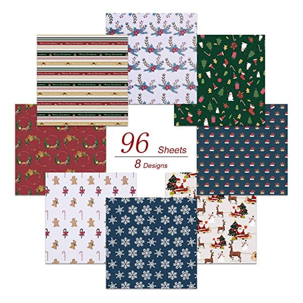 Paperkiddo Origami Paper 96 Sheets Christmas Theme Craft Folding Paper Colorful Pattern Premium Quality Squares Paper for Arts and Crafts 6x6 inch (Color: Christmas)