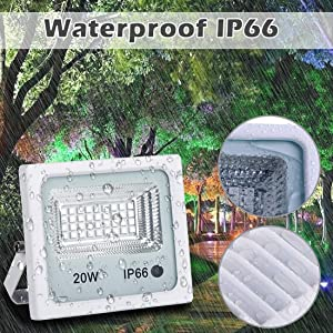 10 Pack Led Flood Light,20W RGB Color Changing Waterproof Security Lights, with US Plug, Super Bright Remote Control Outdoor Spotlight, for Garden, Yard, Warehouse Sidewalk,Backyard, Garage (Color: 20w Rgb Led Flood Light Outdoor, Tamaño: 10pcs 20W RGB)