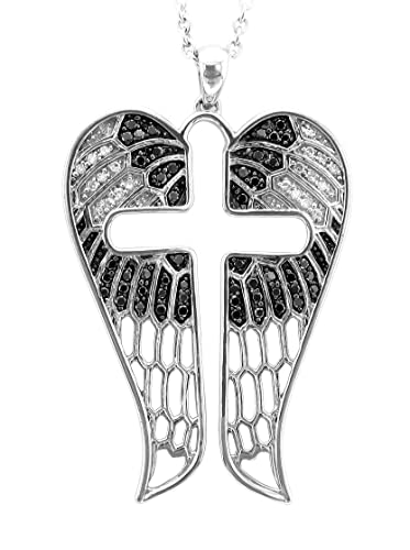 Angel Feather Wing Cross Sterling Silver White and Black Diamond Pendant Necklace