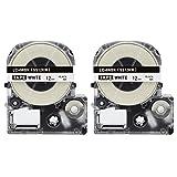 2PK Onirii Compatible Epson Labelworks Label Tape Cartridge LW-300 LW-400 LW-500 LW-600 LC-4WBN9(LK-4WBN) Black On White Label Maker Tape Refill Cartridge 12mmx26.2ft (Color: black on white, Tamaño: 2PK-LC-4WBN)