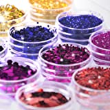 Glitter Wenida 12 Colors Holographic Cosmetic Festival Powder Sequins Craft Glitter for Arts Face Hair Body Nail (Color: 4 Colors # 2, Tamaño: 12 Boxes)