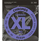 D'Addario Guitar Strings Set, Chromes, Jazz Light (Tamaño: Jazz Light, 11-50)