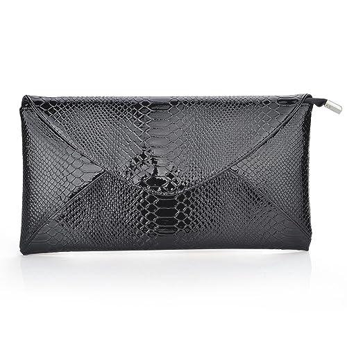 TopTie Snake Skin PU Leather Envelope Clutch - Black, Gift Idea