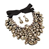 Holylove Champagne Costume Statement Necklace with Earrings for Women Jewelry Fashion Necklace 1 Set with Gift Box-HLN8455E-Champagne (Color: Champagne 1 Set-hln8455e)