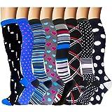 2-8 Pairs Compression Socks Women & Men 15-20 mmHg -Best Travel & Flight Socks-Running & Fitness . (Color: B6-style 10-8 Pack, Tamaño: Small / Medium)