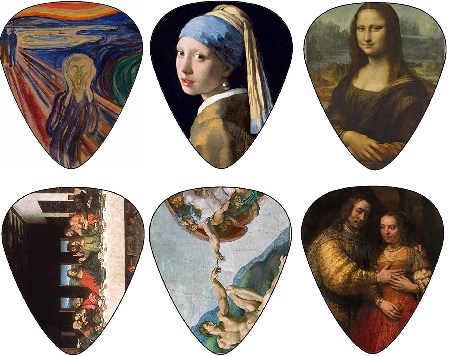 Guitar Picks, Cool Renaissance Art Medium 12 Pack Celluloid, Leather Keychain Pick Holder Included, Premium Gift Set. Have u Ever Played Your Electric, Acoustic or Bass Guitar With The Mona Lisa?