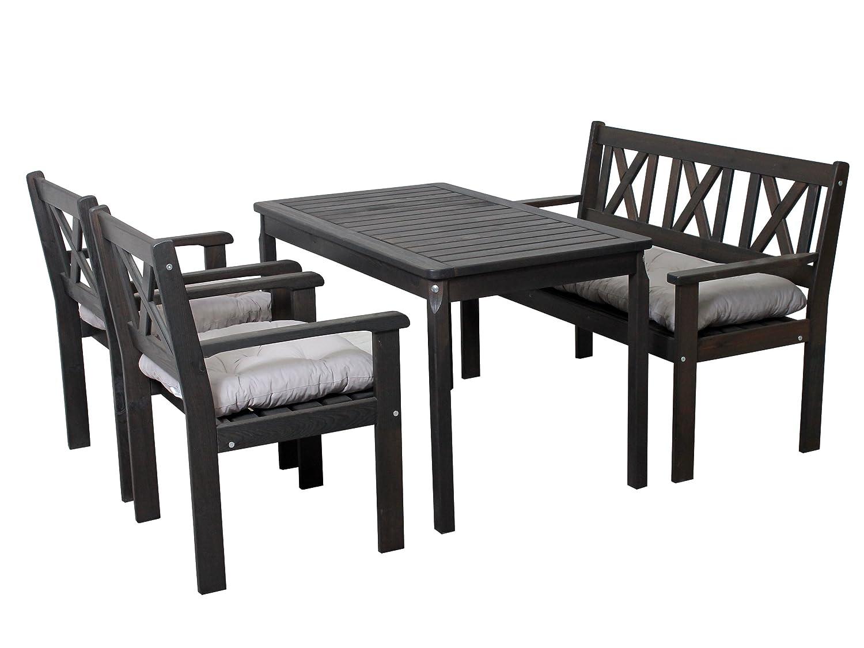 Trendy-Home24 7-teilige Essgruppe Set taupe grau braun Sitzgruppe mit 2-Sitzer Bank und Sessel Tisch 120 x 70 cm Holz inkl. Sitzkissen online bestellen