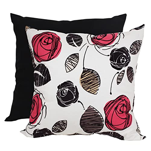 Pillow Perfect Flocked Floral Decorative Square Floor Pillow, 23-Inch by 23-Inch, Red/Black