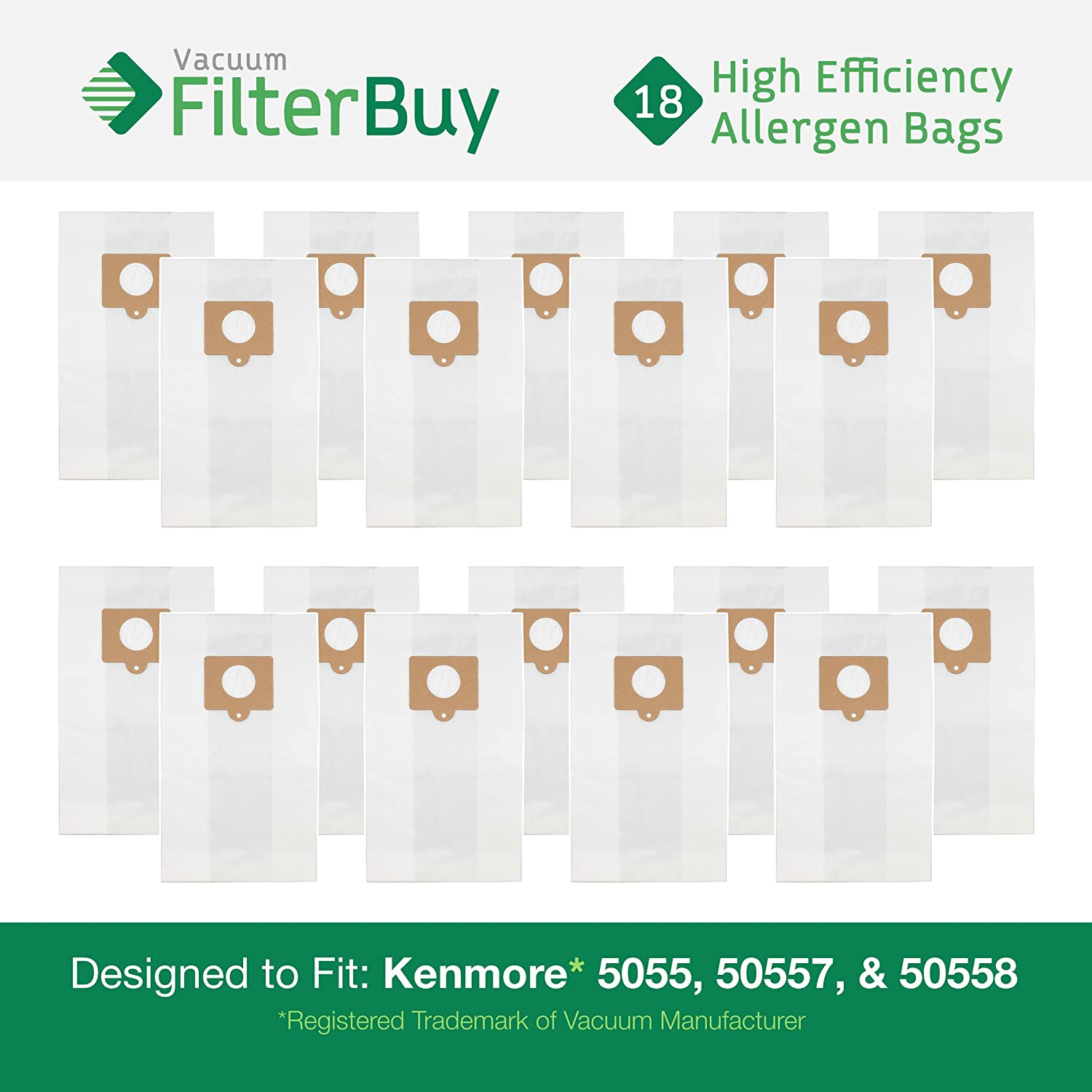 18 Kenmore Type C 5055, 50557 and 50558 Allergen Vacuum Cleaner Bags. Designed by FilterBuy to fit Kenmore 20-5055, 20-50557, 20-50558. Compare to Kenmore # 433934