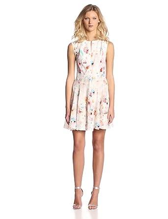 Rebecca Taylor Women's Sleeveless Poppy Godet Dress, Cream, 2