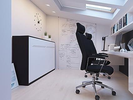 Armario cama 90x 200horizontal color Wengué/blanco frontal-Armario plegable & pared cama