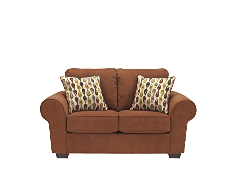 Deandre Contemporary Orange Fabric Loveseat
