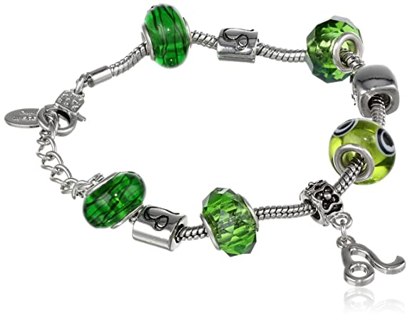 Leo Murano Style Glass Beads and Charm Bracelet