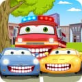Car Wash & Dentist Games: patient fire truck, police car, garbage dump truck tractor - dental care car repair car mechanic tune up doctor clinic for kids to brush teeth, fixing tooth cavity bug with tool, vehicle headlight drive