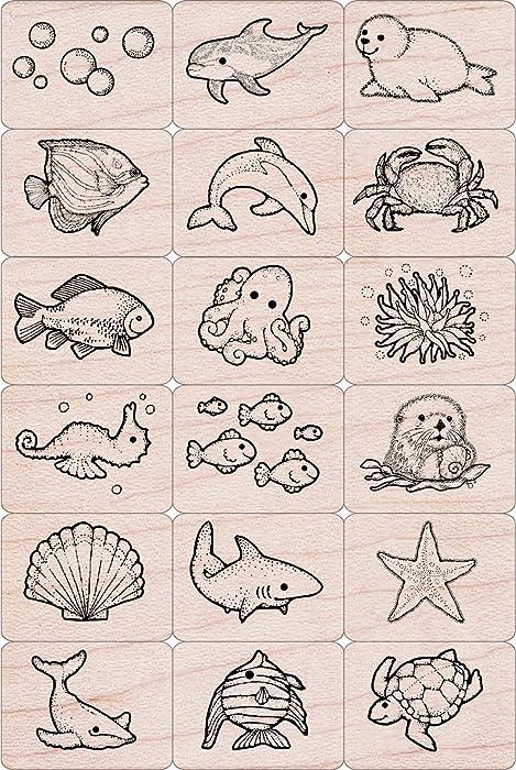 Marine Life Rubber Stamp Set