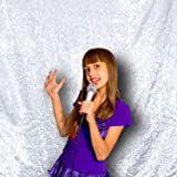 PartyDelight Not See-Through Sequin Backdrop 4FTX6.5Ft Silver for Wedding Curtain, Party, Photo Booth. (Color: Satin Silver, Tamaño: 4X6.5)