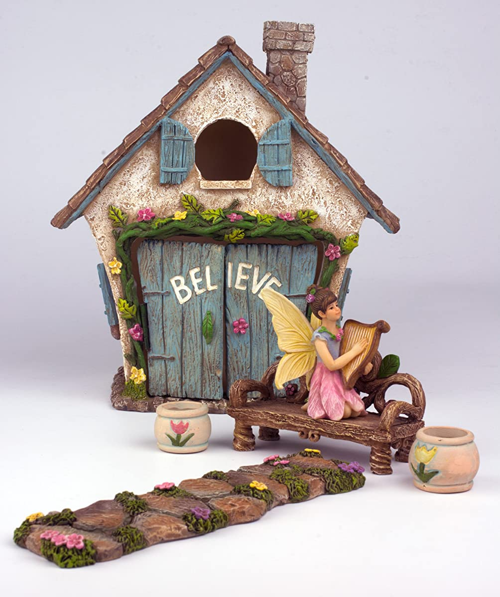 "The Adorable Believe Fairy Garden House - 8"" tall - Hand Painted (with Doors that Open) by Twig & Flower"
