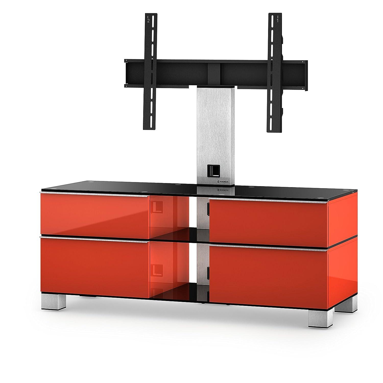 Sonorous MD 8220-B-INX-RED Fernseher-Möbel mit Schwarzglas (Aluminium Inox, Korpus Hochglanzdekor) rot