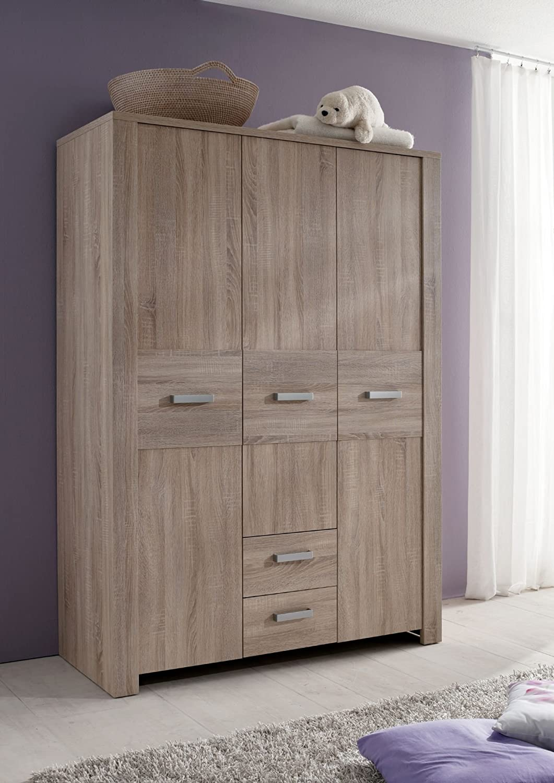 Olek Kleiderschrank 3 trg. mit 2 Schubkästen, 1 Kleiderstange, 3 feste Mittelböden und 3 verstellbare Einlegeböden in eiche sägerau (E1 Spanplatten)