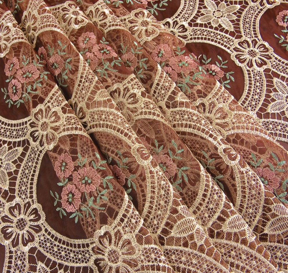 Vintage Elegant Beige Round Lace Tablecloth Linen Embroidered Flower Burgundy Translucent Gauze Customer Order (round 70 by 70 inch) 1